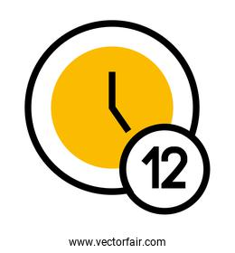 clock with 12 number icon, half color half line style