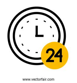 clock with 24 number icon, half color half line style