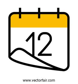 calendar with 12 number icon, half line half color style