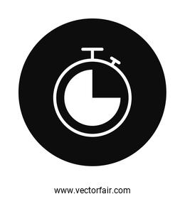 stopwatch icon over white background, block style