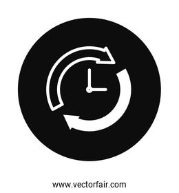 clock with sync arrows icon, block style