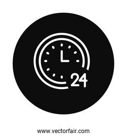 clock with 24 number icon, block style