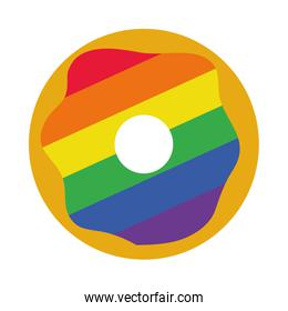 pride concept, colorful donut icon, flat style