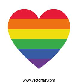 pride heart icon, flat style