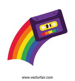 pride concept, cassette and rainbow icon, flat style
