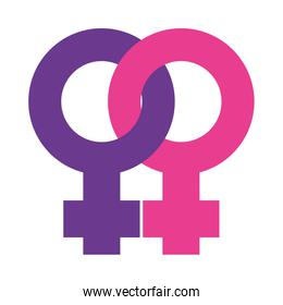 Sexual orientation concept lesbian symbol icon, flat style