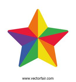 pride concept, colorful star icon, flat style
