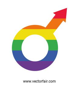 male symbol with pride flag design, flat style