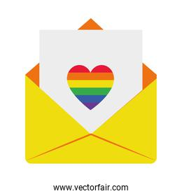 pride concept, envelope with letter with colorful heart icon, flat style
