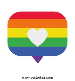 speech bubble with pride flag and heart icon, flat style