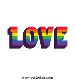 love word lettering design with pride flag colors, flat style