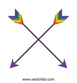 crossed arrows with pride colors design, flat style