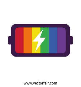 pride concept, colorful battery icon, flat style