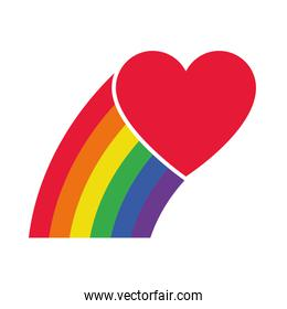 pride concept, heart and rainbow icon, flat style