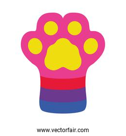 Dog paw with lgbt colors, flat style