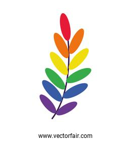 Laurel leaves sign with colors of LGBT flag, flat style
