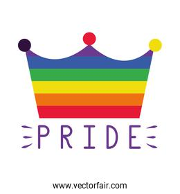 pride concept, colorful crown icon, flat style
