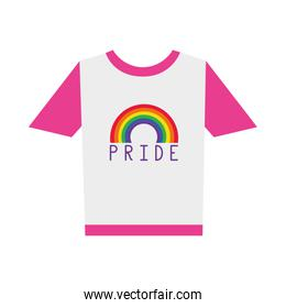 pride tshirt with rainbow icon, flat style