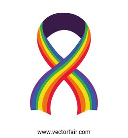 ribbon with pride flag design, flat style