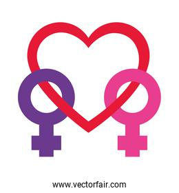 pride concept, gender symbols united with heart icon, flat style