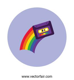 pride concept, cassette and rainbow icon, block style