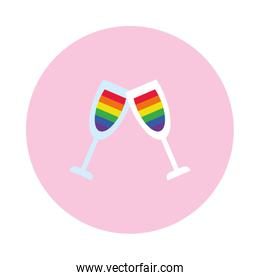champagne glasses with pride flag design icon, block style