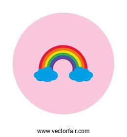 rainbow and clouds icon, block style