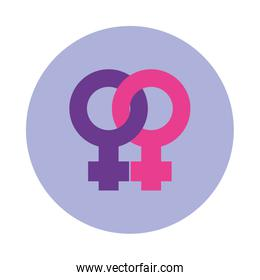 Sexual orientation concept lesbian symbol icon, block style