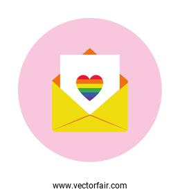 pride concept, envelope with letter with colorful heart icon, block style