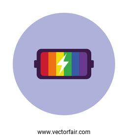pride concept, colorful battery icon, block style