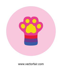 Dog paw with lgbt colors, block style