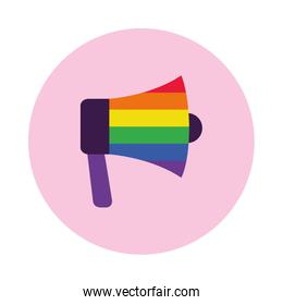 megaphone with pride flag design, block style