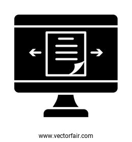 online learning concept, computer with document on screen icon, silhouette style