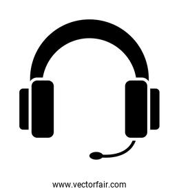 headphones with microphone over white background, silhouette style