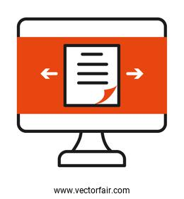 online learning concept, computer with document on screen icon, half line half color style