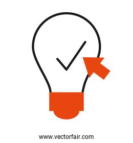 online learning concept, idea bulb with check mark and web cursor icon, half line half color style