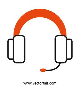 headphones with microphone over white background, half line half color style
