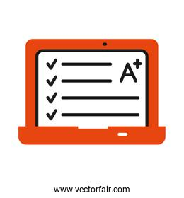 online learning concept, laptop computer with academic note icon, half line half color style