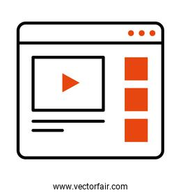 online learning concept, web page with video player icon, half line half color style
