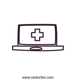 Medical cross inside laptop line style icon vector design