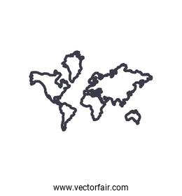 Isolated world map line style icon vector design