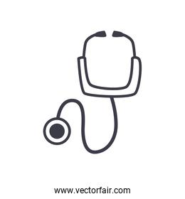 Medical stethoscope line style icon vector design