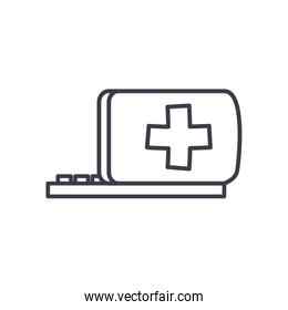 Medical cross in laptop line style icon   design