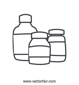 Medicine jars line style icon vector design