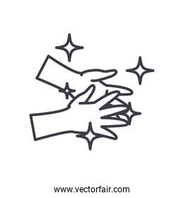 Hands washing line style icon vector design