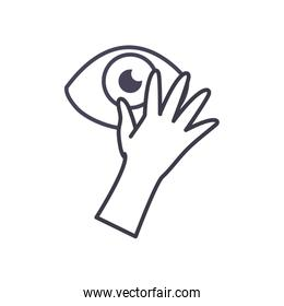 Hand touching eye line style icon vector design