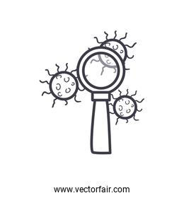 Covid 19 virus and lupe line style icon vector design