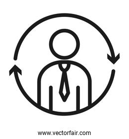 pictogram businessman with arrows around icon, line style