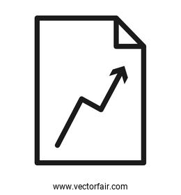 document with financial arrow icon, line style