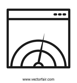 SEO and marketing online concept, Web page with meter icon, line style